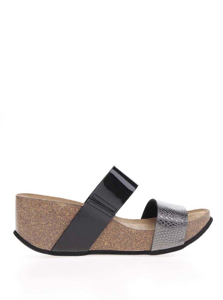 Papuci gri&negru OJJU cu platforma