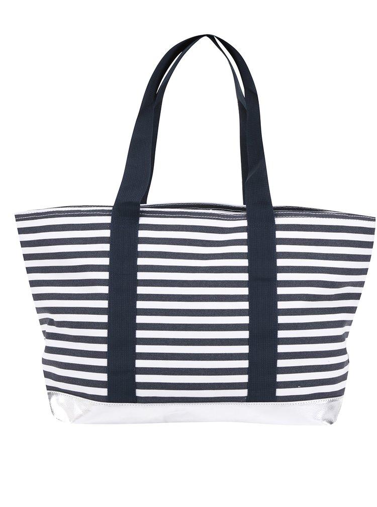Geantă shopper albastru & alb M&Co cu model în dungi