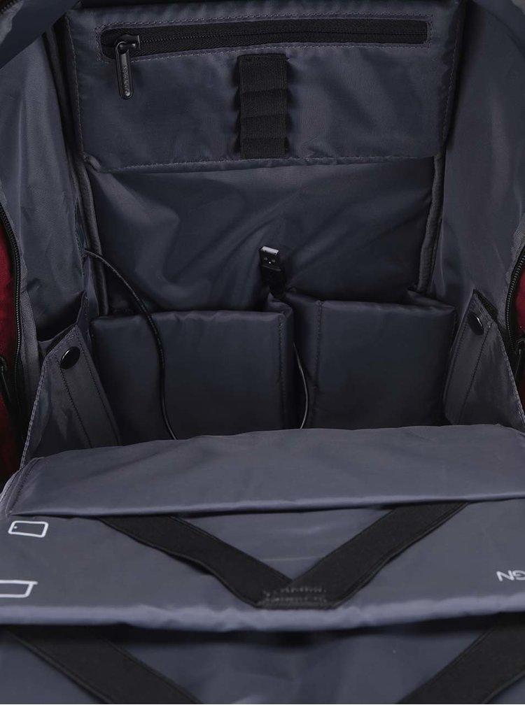 Vínovo-černý nevykradnutelný velký unisex batoh XD Design Bobby