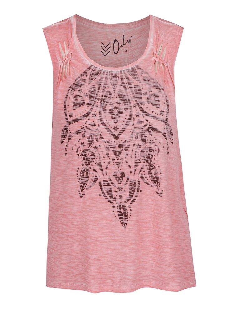 Růžové žíhané tričko s potiskem a průstřihy ONLY Vanya