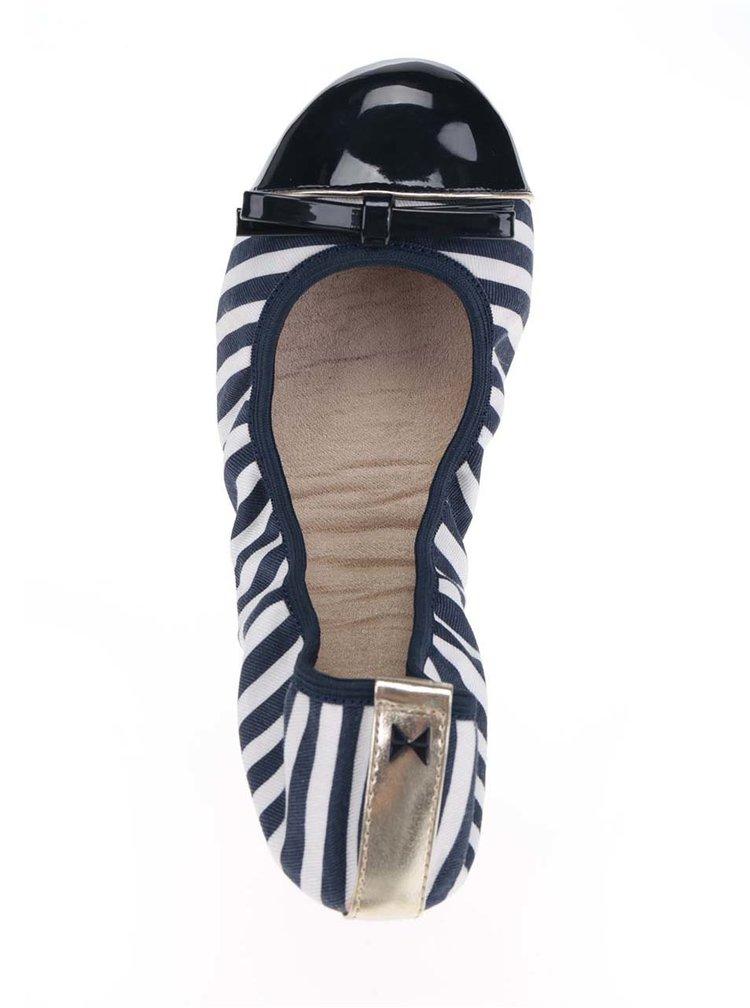Bílo-modré pruhované baleríny do kabelky Butterfly Twists Cara