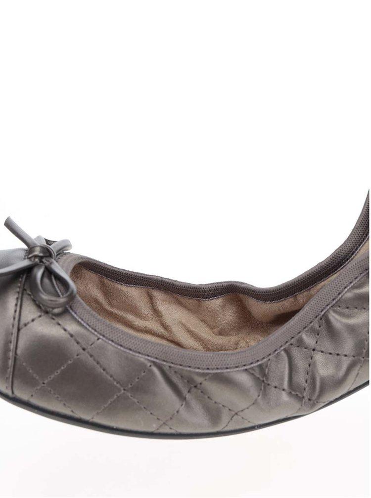 Tmavě šedé prošívané baleríny do kabelky Butterfly Twists Olivia