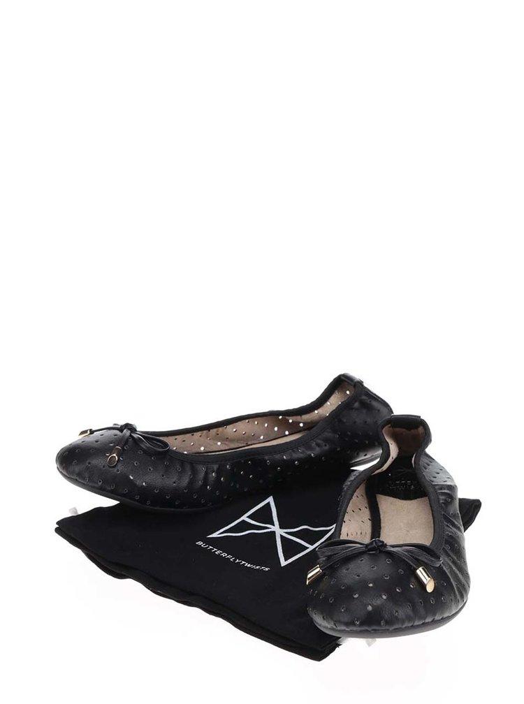 Černé perforované baleríny s mašlí do kabelky Butterfly Twists Grace