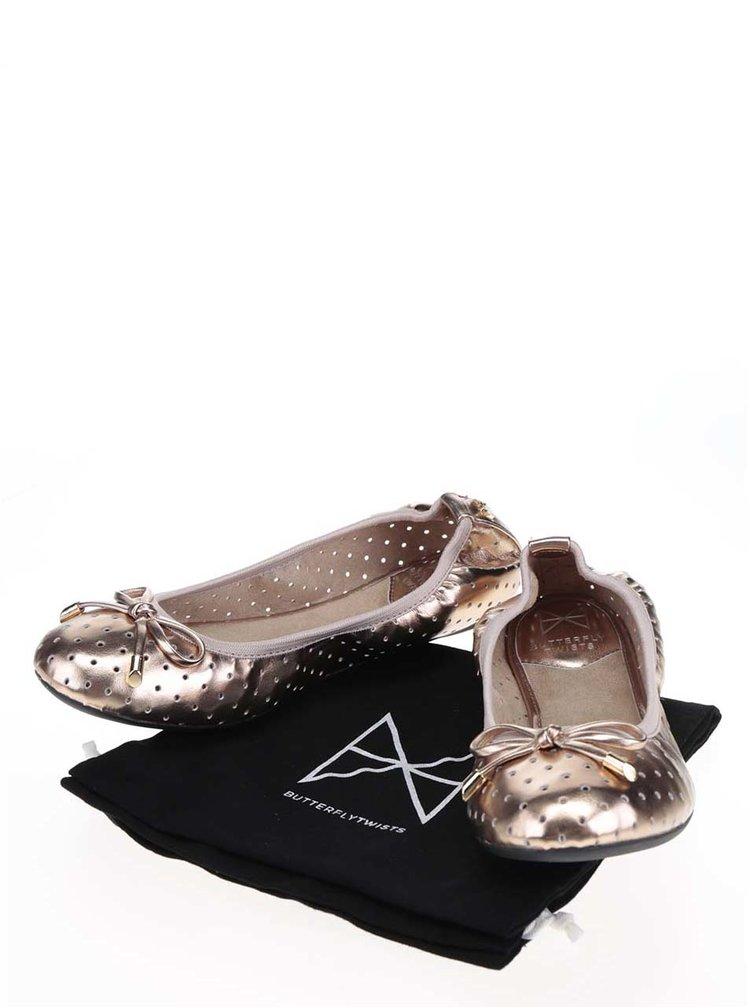 Perforované baleríny ve zlaté metalické barvě s mašlí do kabelky Butterfly Twists Grace