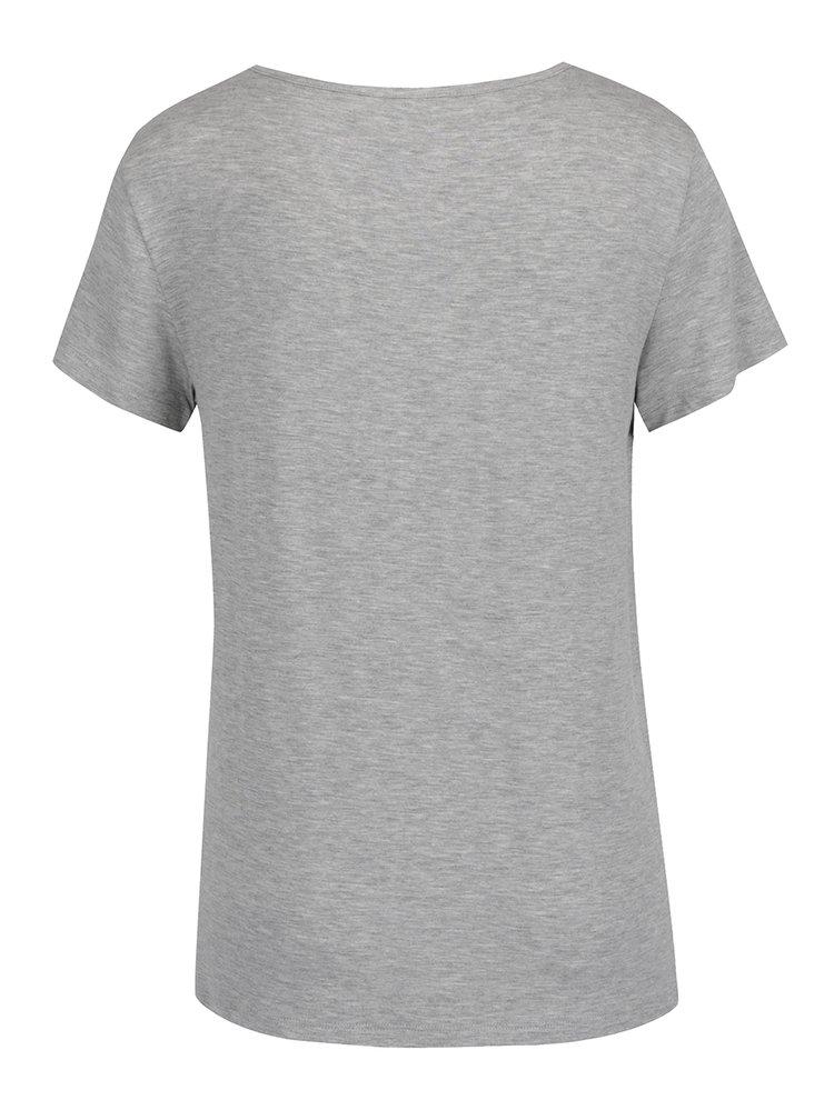 Šedé žíhané tričko s potiskem ONLY Arli