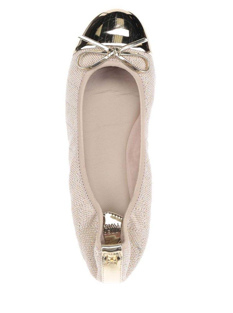 Béžové baleríny s detaily ve zlaté barvě do kabelky Butterfly Twists Olivia