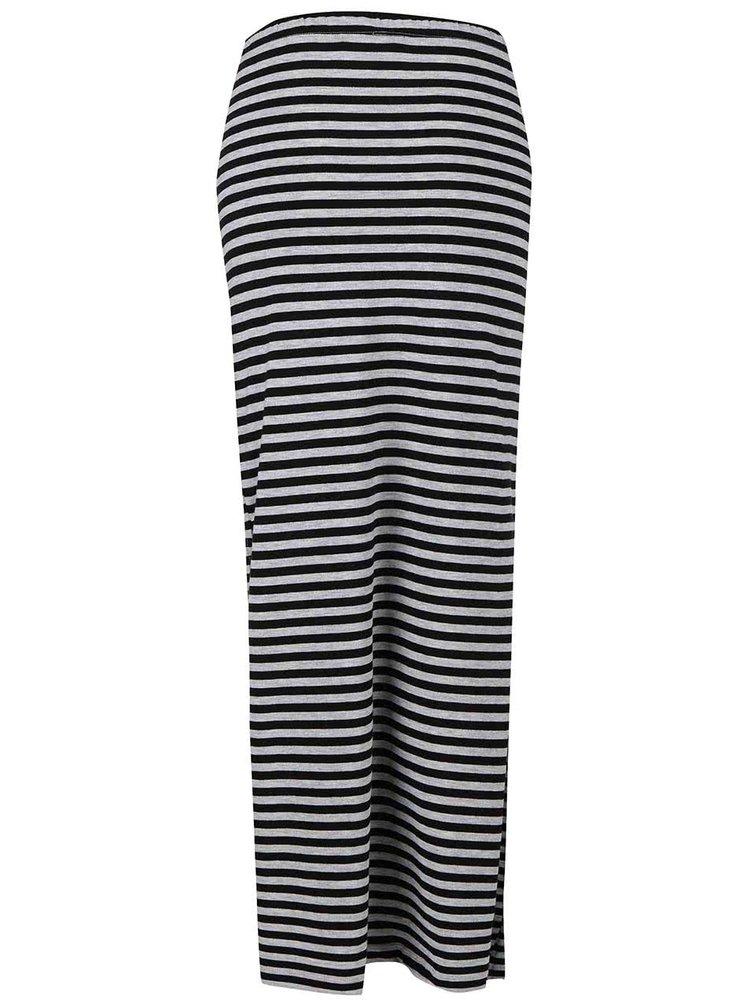 Šedo-černá pruhovaná maxi sukně s rozparky ONLY Abbie