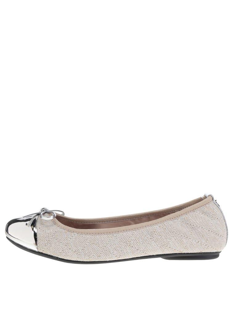 Béžové baleríny s detaily ve stříbrné barvě do kabelky Butterfly Twists Olivia