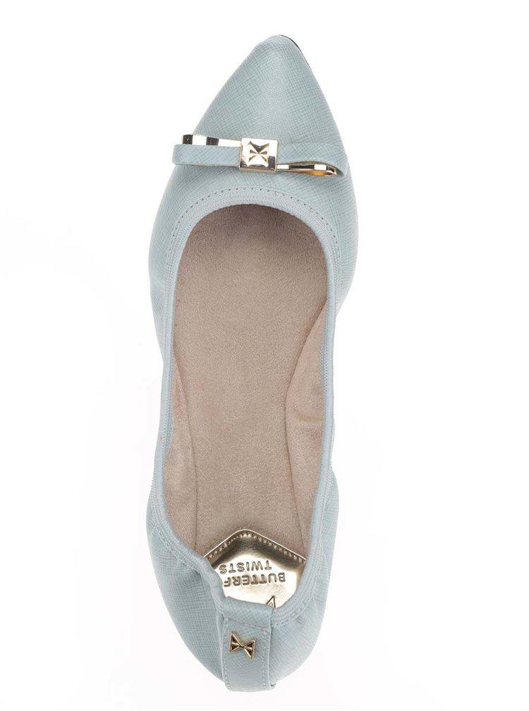 Světle modré baleríny s mašlí ve zlaté barvě do kabelky Butterfly Twists Isobel