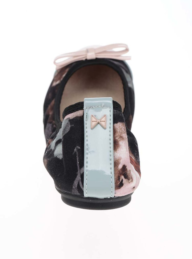 Černo-růžové vzorované baleríny do kabelky Butterfly Twists Cara