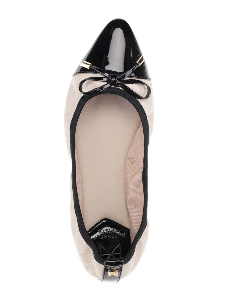 Černo-béžové prošívané baleríny s mašlí do kabelky Butterfly Twists Holly