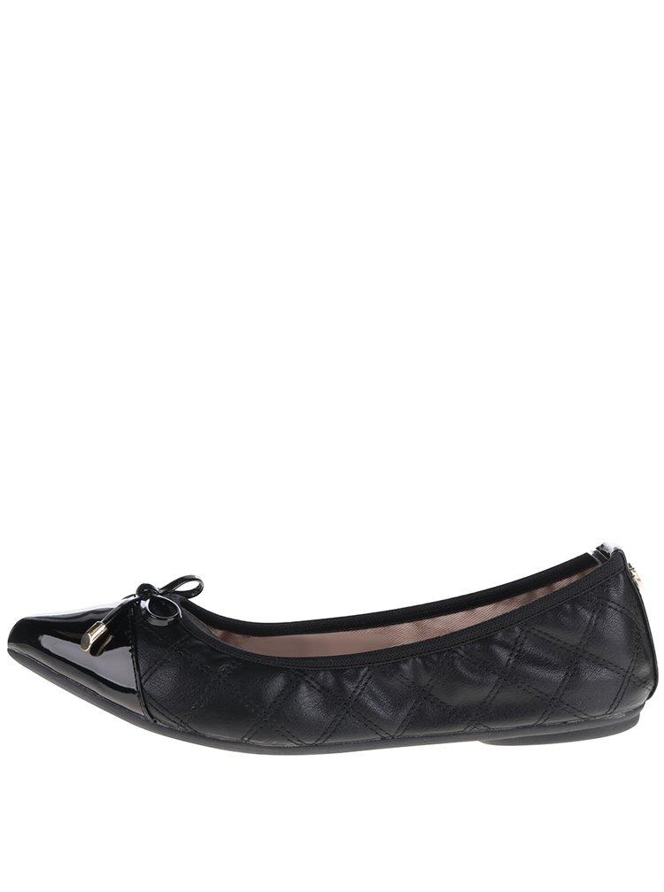 Černé prošívané baleríny s mašlí do kabelky Butterfly Twists Holly