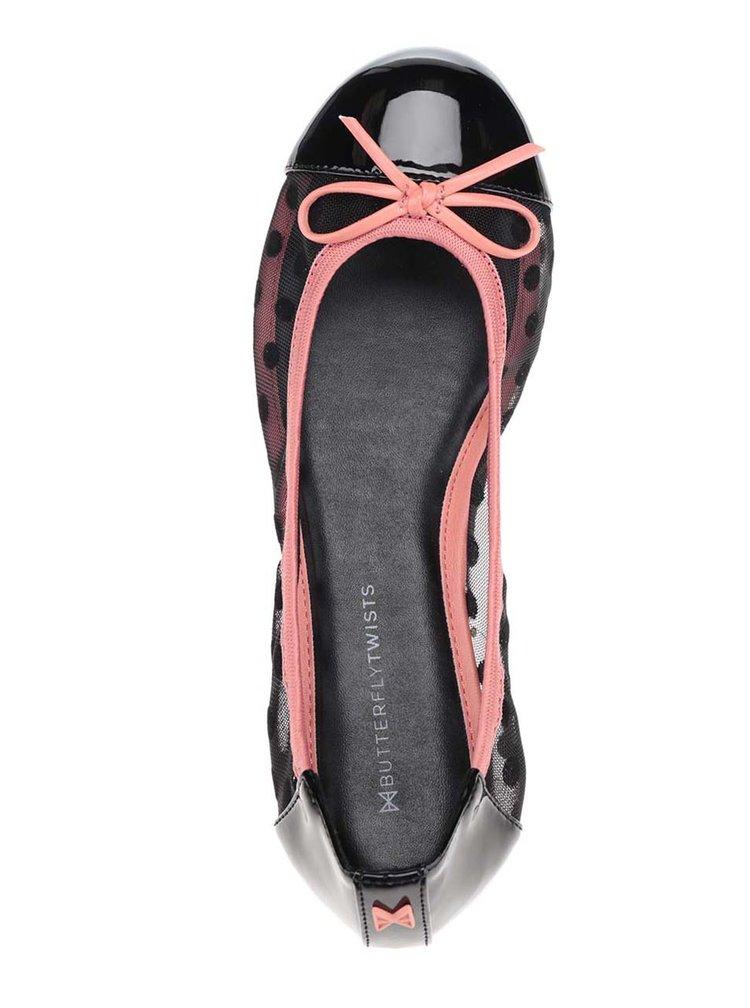Růžovo-černé puntíkované baleríny s mašlí do kabelky Butterfly Twists Jessica