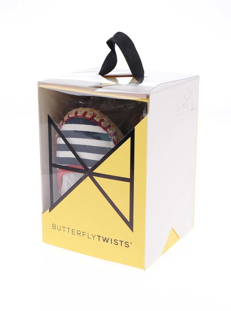 Bílo-modré pruhované baleríny do kabelky Butterfly Twists Gigi