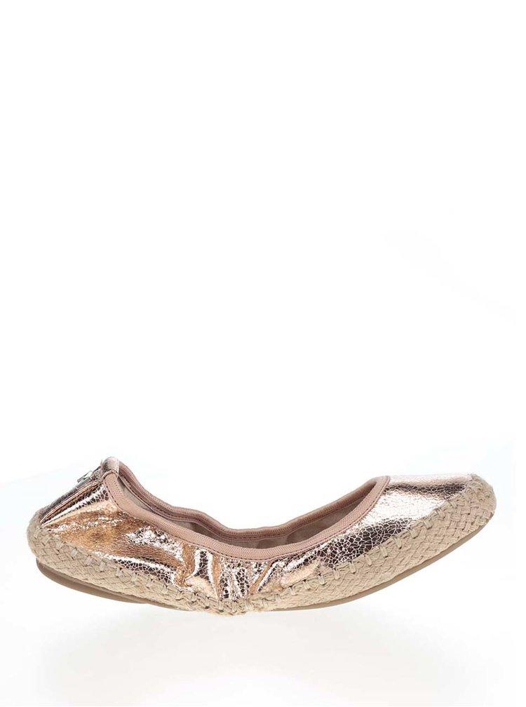 Baleríny v růžovozlaté metalické barvě do kabelky Butterfly Twists Gigi