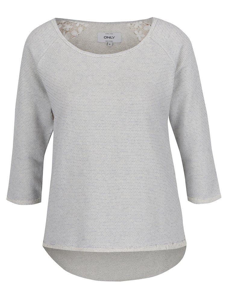 Bluza gri deschis ONLY Hanna cu insertie din dantela