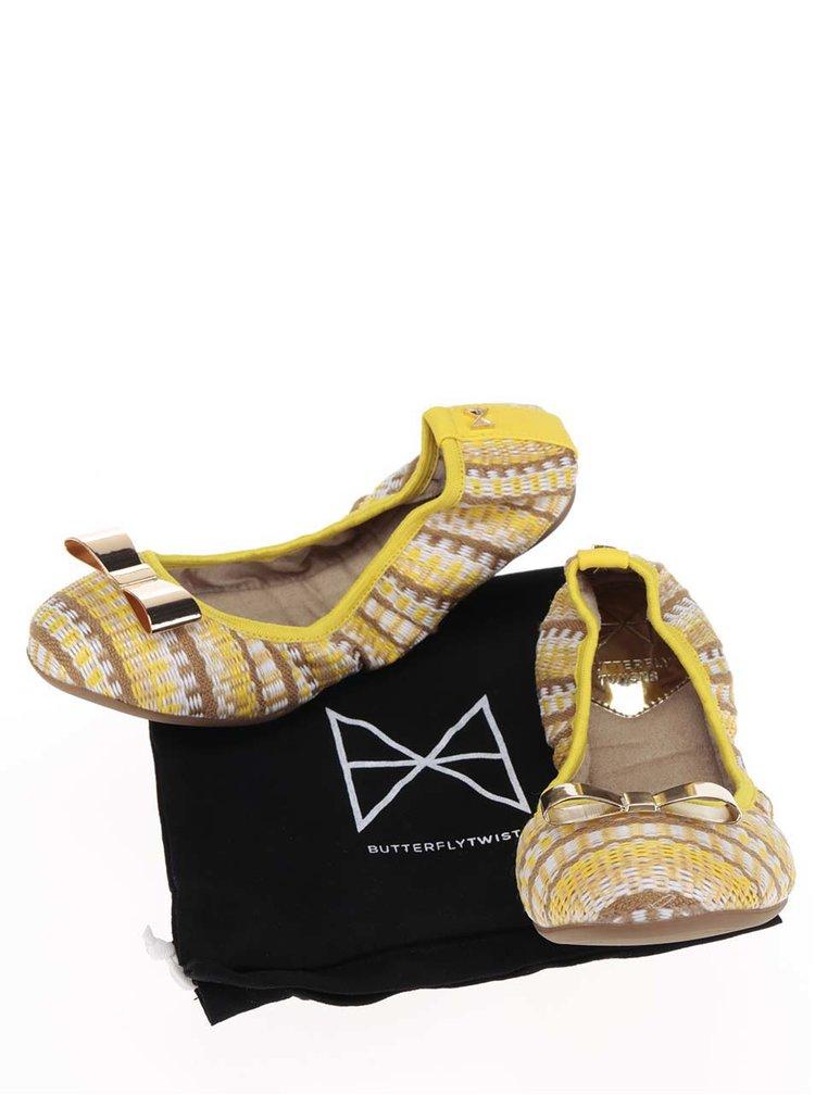 Hnědo-žluté vzorované baleríny s mašlí ve zlaté barvě do kabelky Butterfly Twists Chloe