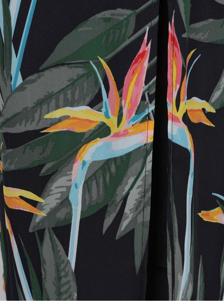Černé vzorované maxišaty se zavazováním v pase ONLY Kiss