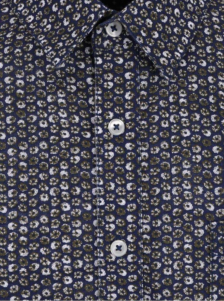Cămașă albastru închis Burton Menswear London cu model floral stilizat
