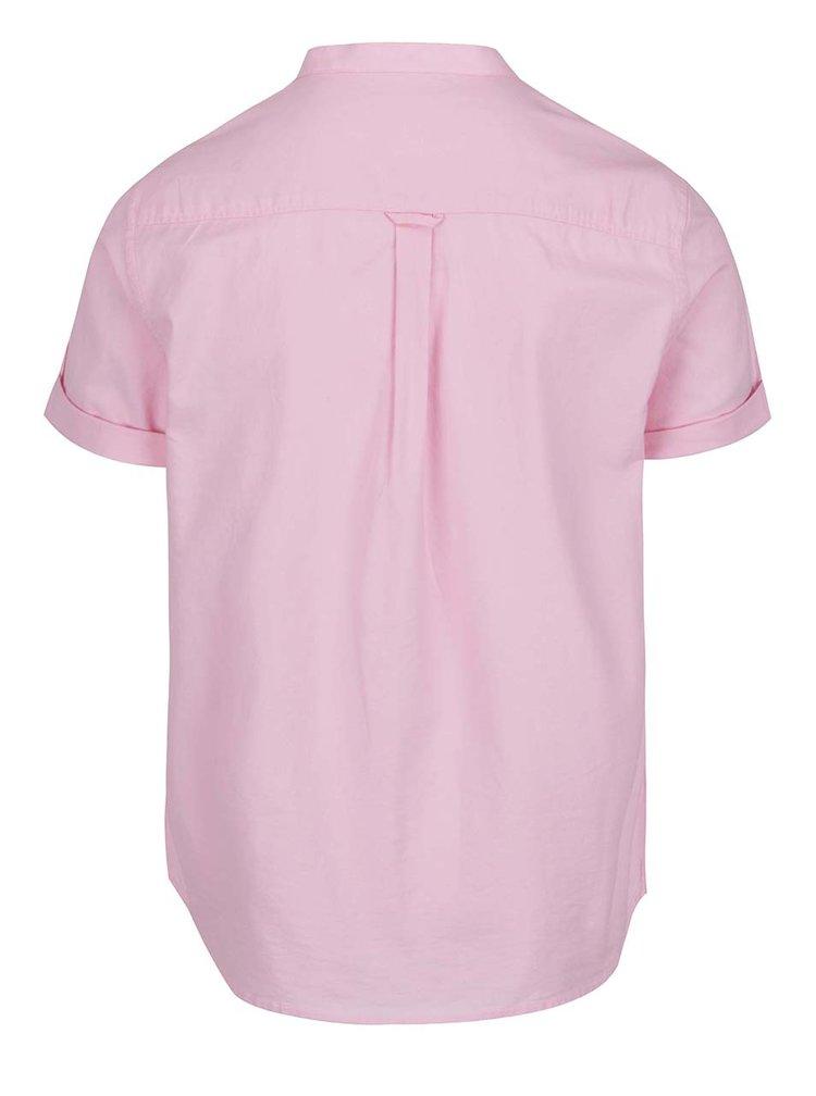 Růžová košile bez límečku Burton Menswear London