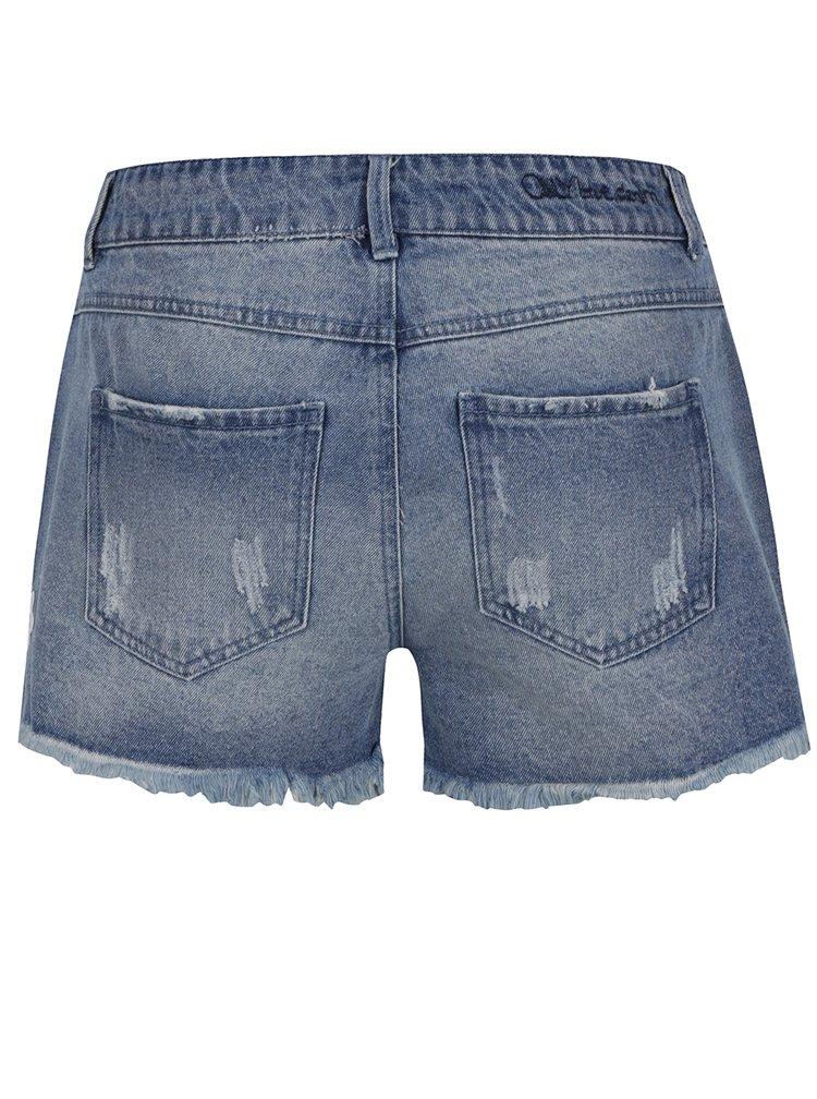 Modré džínové kraťasy s krajkovým detailem ONLY Carmen