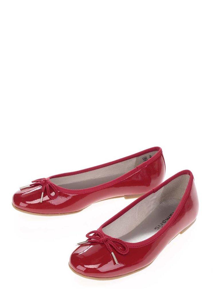 Balerini roșii Tamaris cu aspect lucios