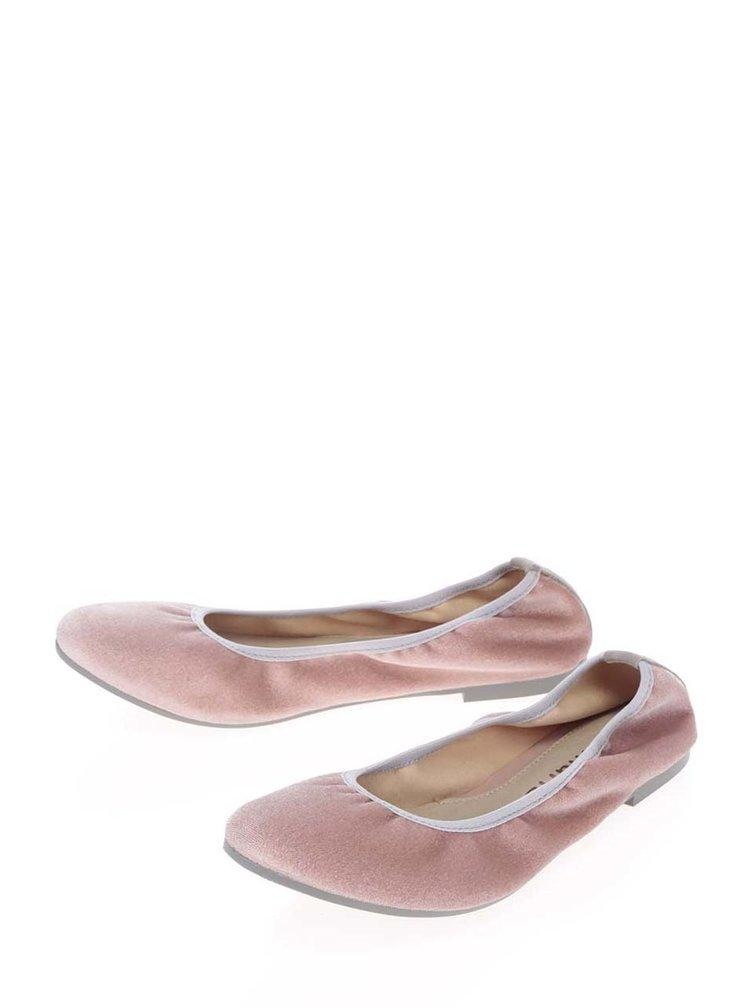 Růžové sametové baleríny Tamaris