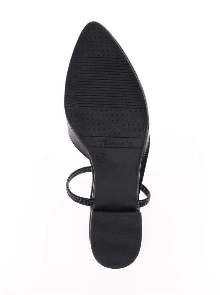 Černé kožené sandály s uzavřenou špičkou Tamaris