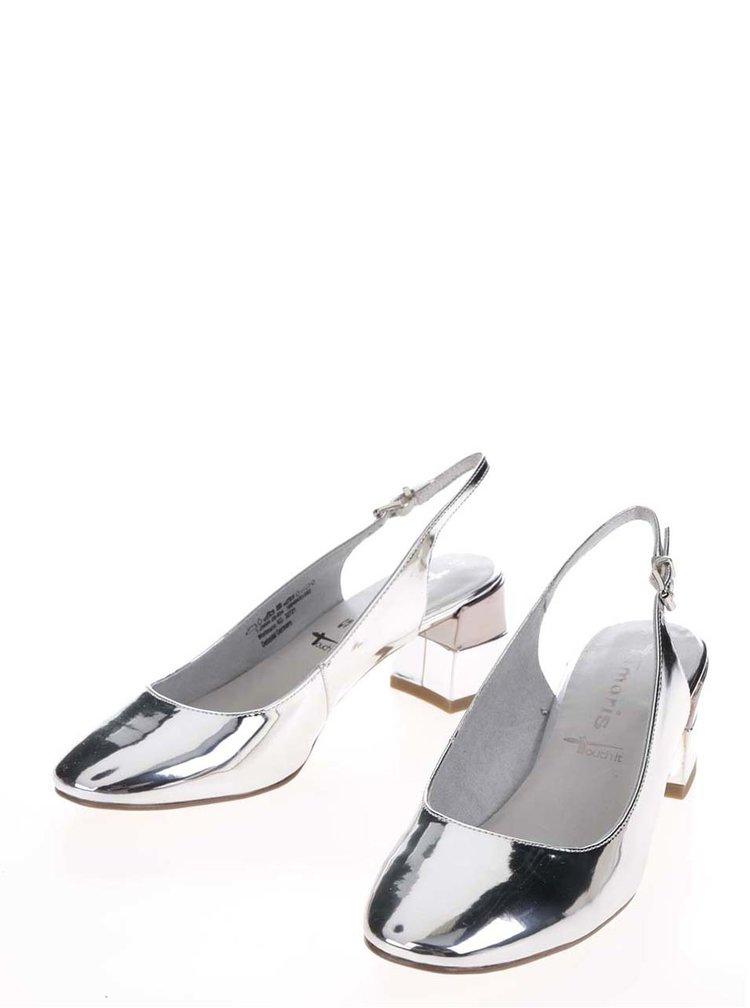 Lodičky ve stříbrné barvě na širokém podpatku Tamaris