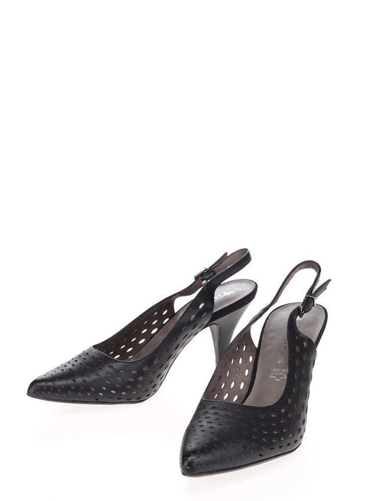 Pantofi slingback negrii Tamaris din piele cu toc