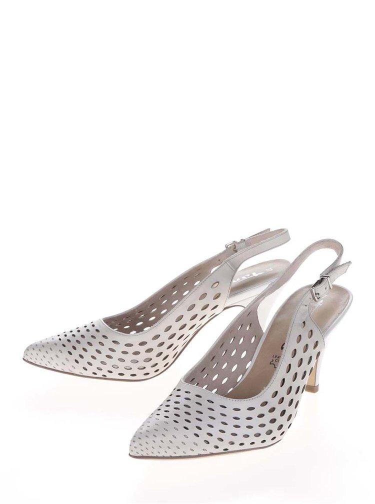 Pantofi slingback crem Tamaris din piele cu toc
