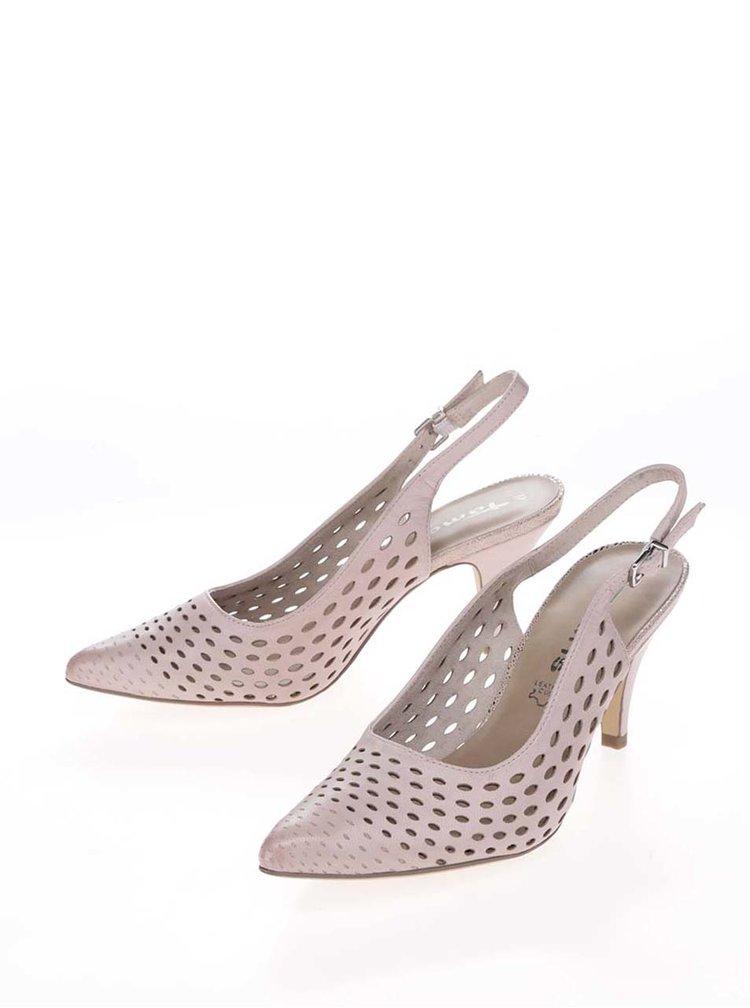 Pantofi slingback  roz prăfuit Tamaris din piele cu toc