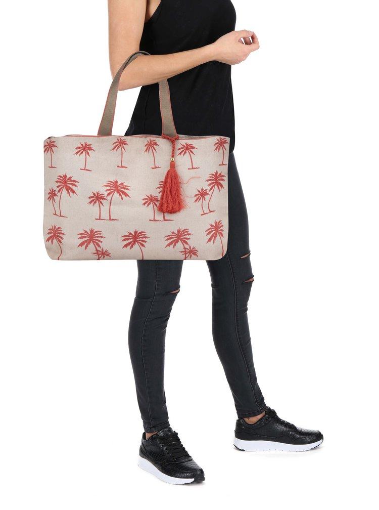 Béžová plátěná plážová taška s potiskem M&Co