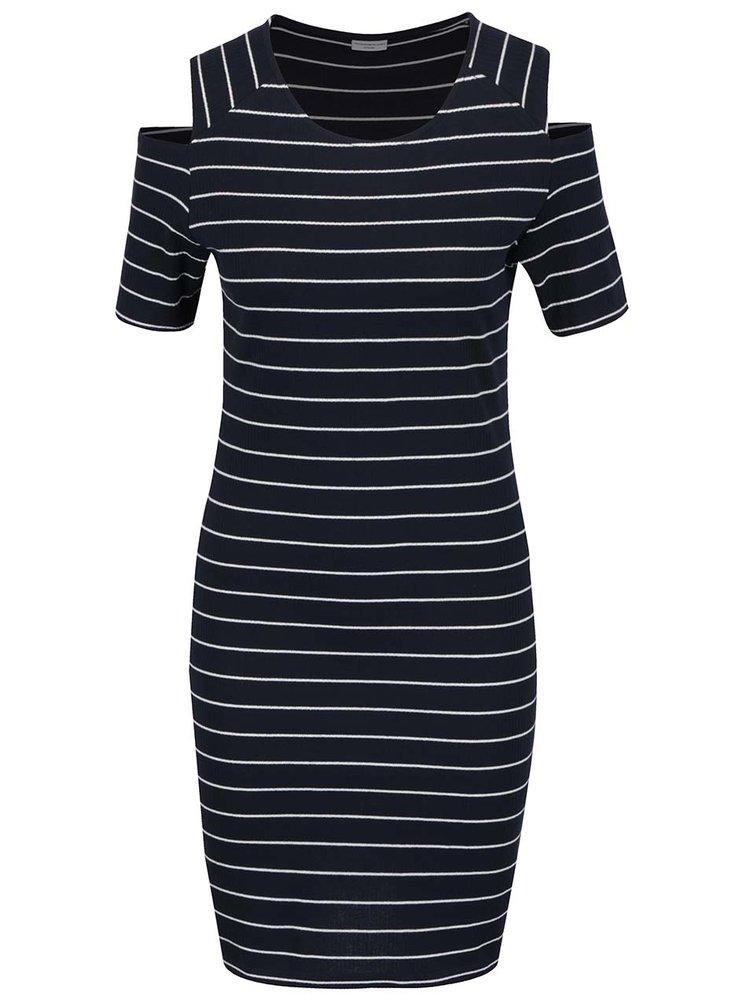 Tmavě modré pruhované šaty s průstřihy na ramenou Jacqueline de Yong Nevada