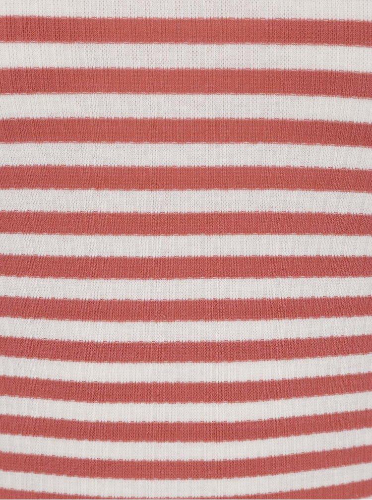 Cihlové pruhované tričko s výstřihem na zádech Jacqueline de Yong Nevada