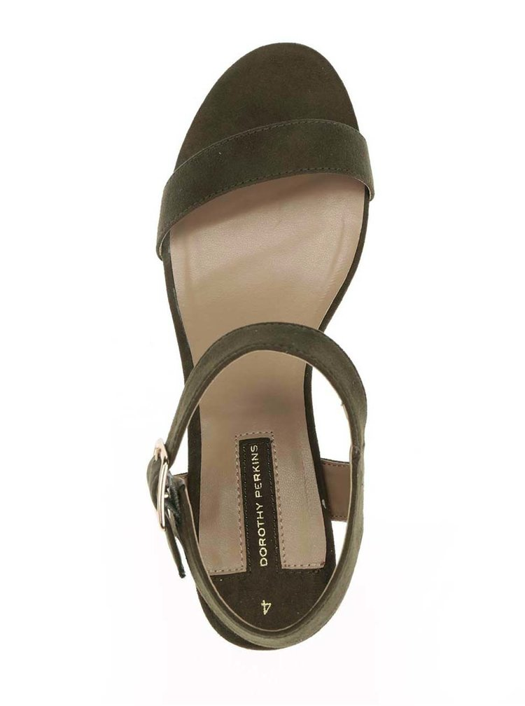 Tmavě zelené sandálky v semišové úpravě Dorothy Perkins
