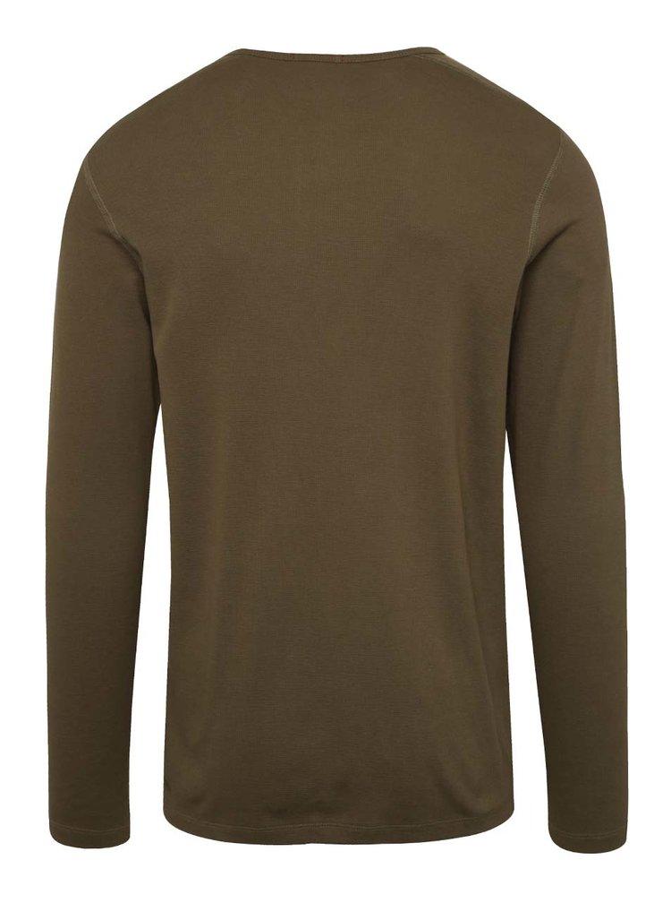 Khaki triko s dlouhým rukávem Jack & Jones Dustin