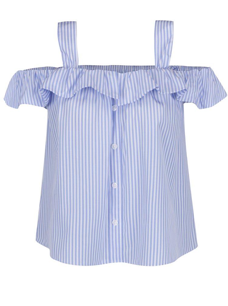 Bluză albastru & alb Haily's Kayla cu umerii goi și model în dungi