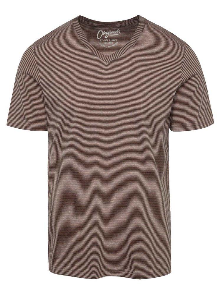 Černo-růžové pruhované triko Jack & Jones True