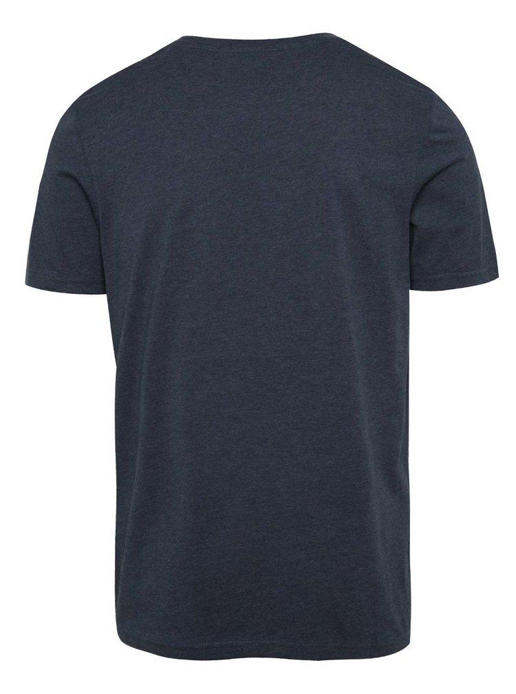 Tmavě modré žíhané triko s potiskem Jack & Jones Hermosa