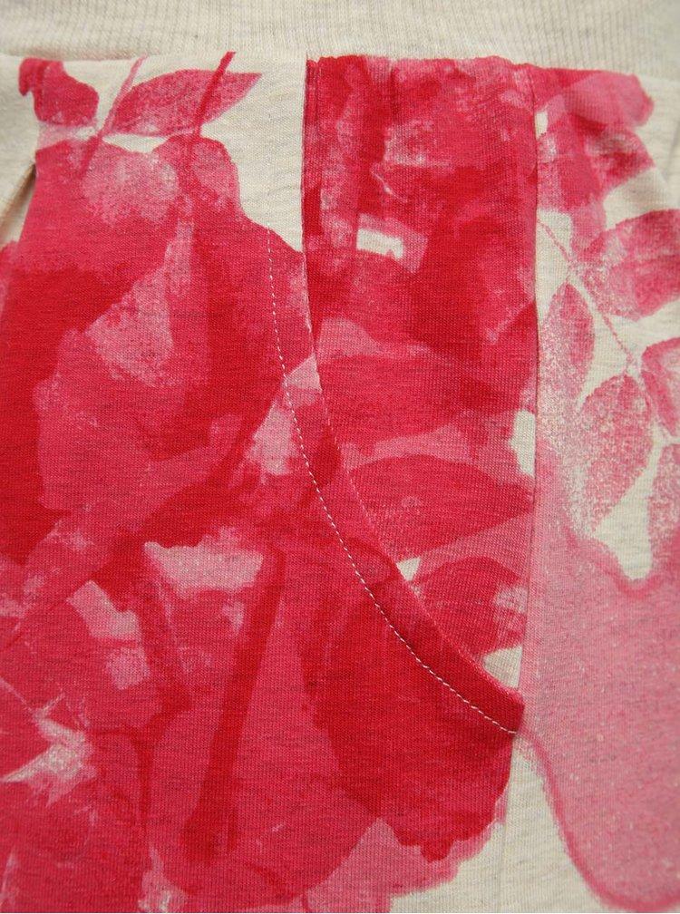 Fustă roz & bej name it Lower cu model floral și talie elastică