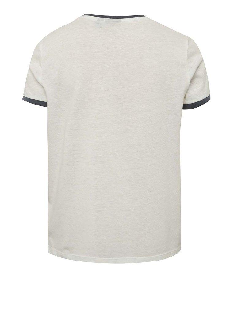 Krémové klučičí triko s potiskem a příměsí lnu LIMITED by name it Sylvest