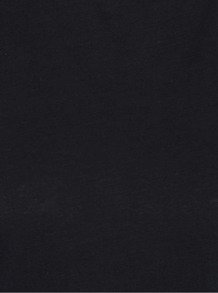 Tricou negru Haily's Selin din bumbac cu detalii la umeri