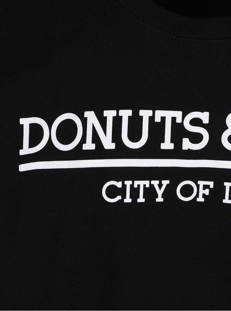 Černé unisex triko s krátkým rukávem Donuts & Milk