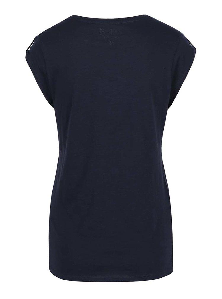 Tmavě modré žíhané tričko s detaily Haily's Selin