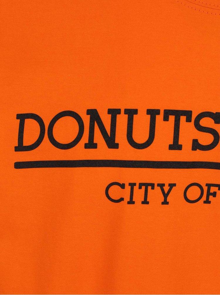 Oranžové unisex triko s krátkým rukávem Donuts & Milk