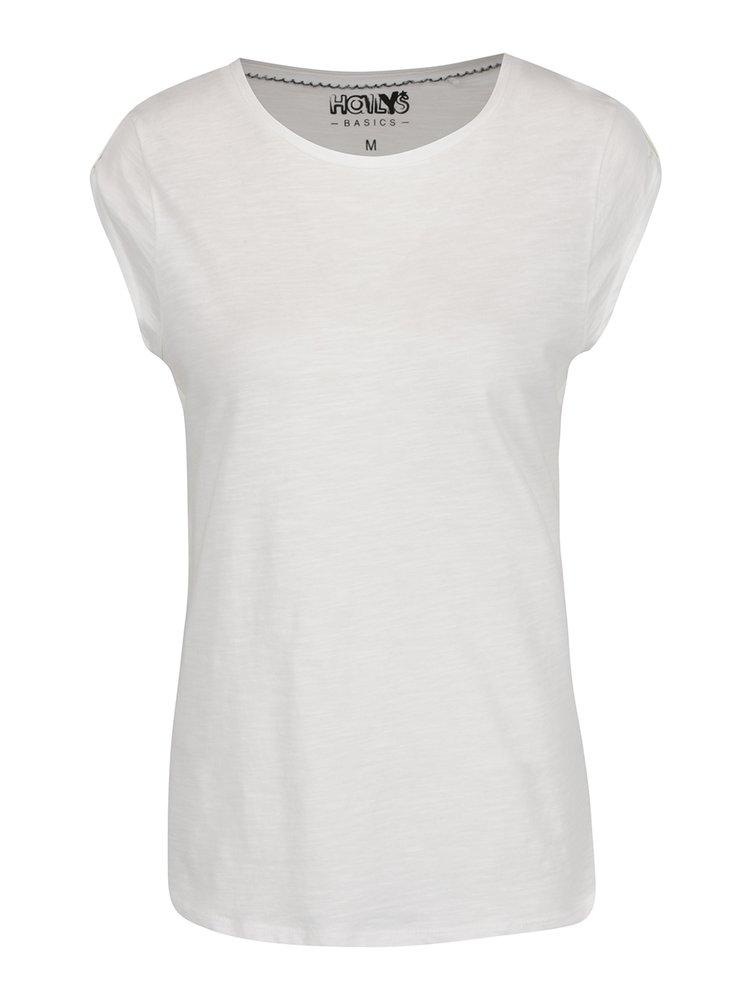 Tricou alb Haily's Selin din bumbac cu detalii la umeri