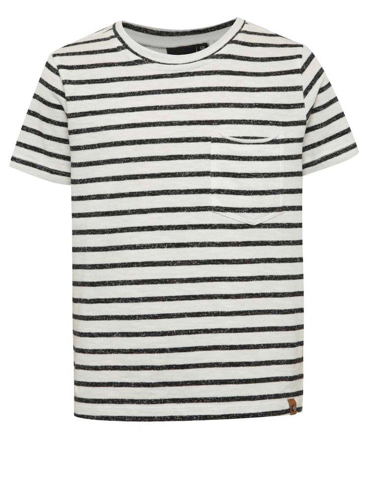 Tricou negru & crem LIMITED by name it Sigger cu model în dungi și buzunar pentru băieți