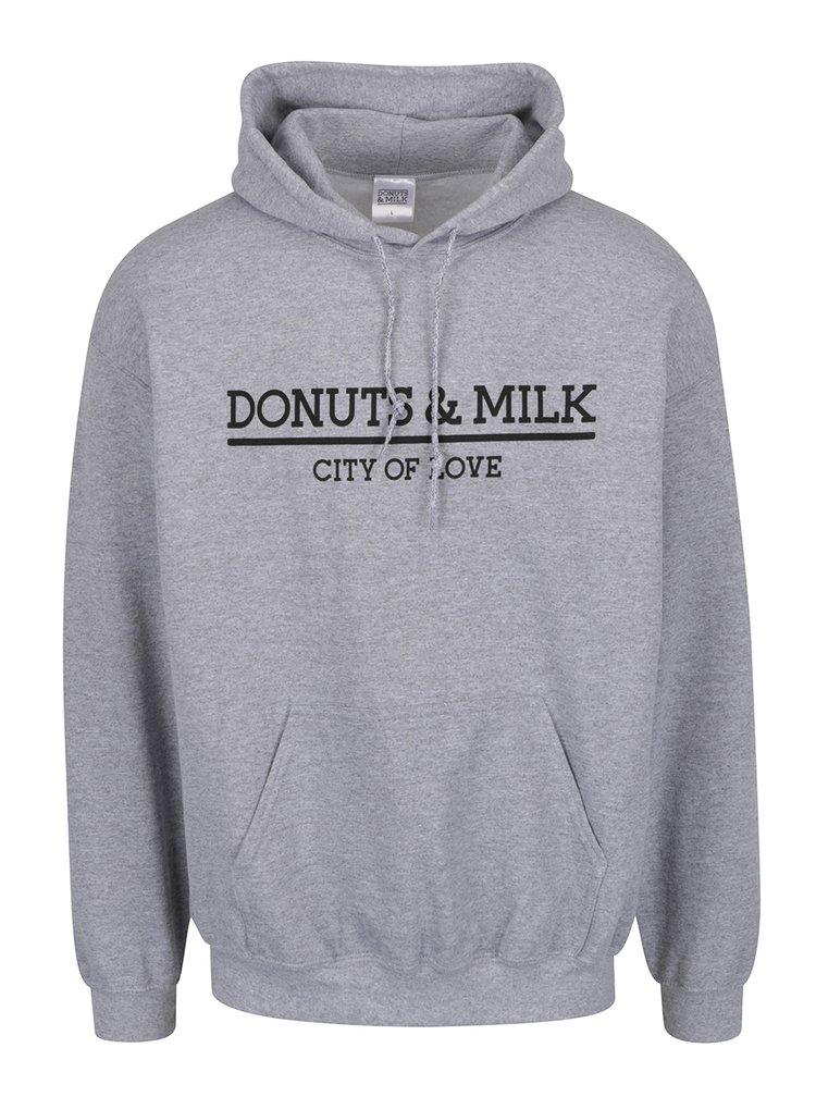 Šedá unisex mikina s kapucí Donuts & Milk
