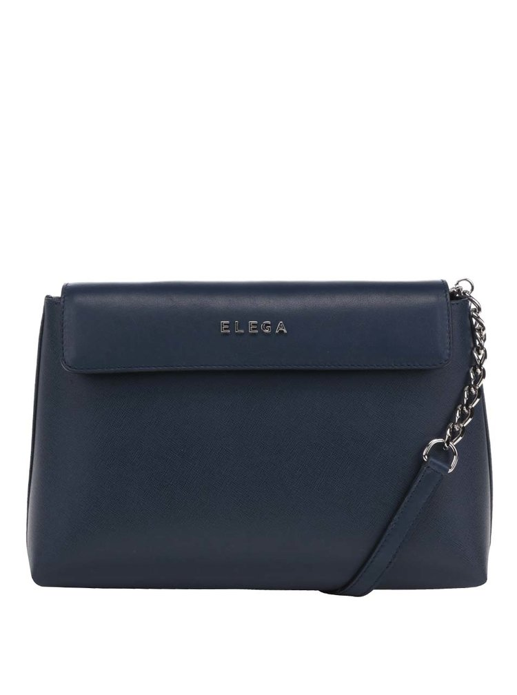 Tmavě modrá kožená crossbody kabelka Elega Ann